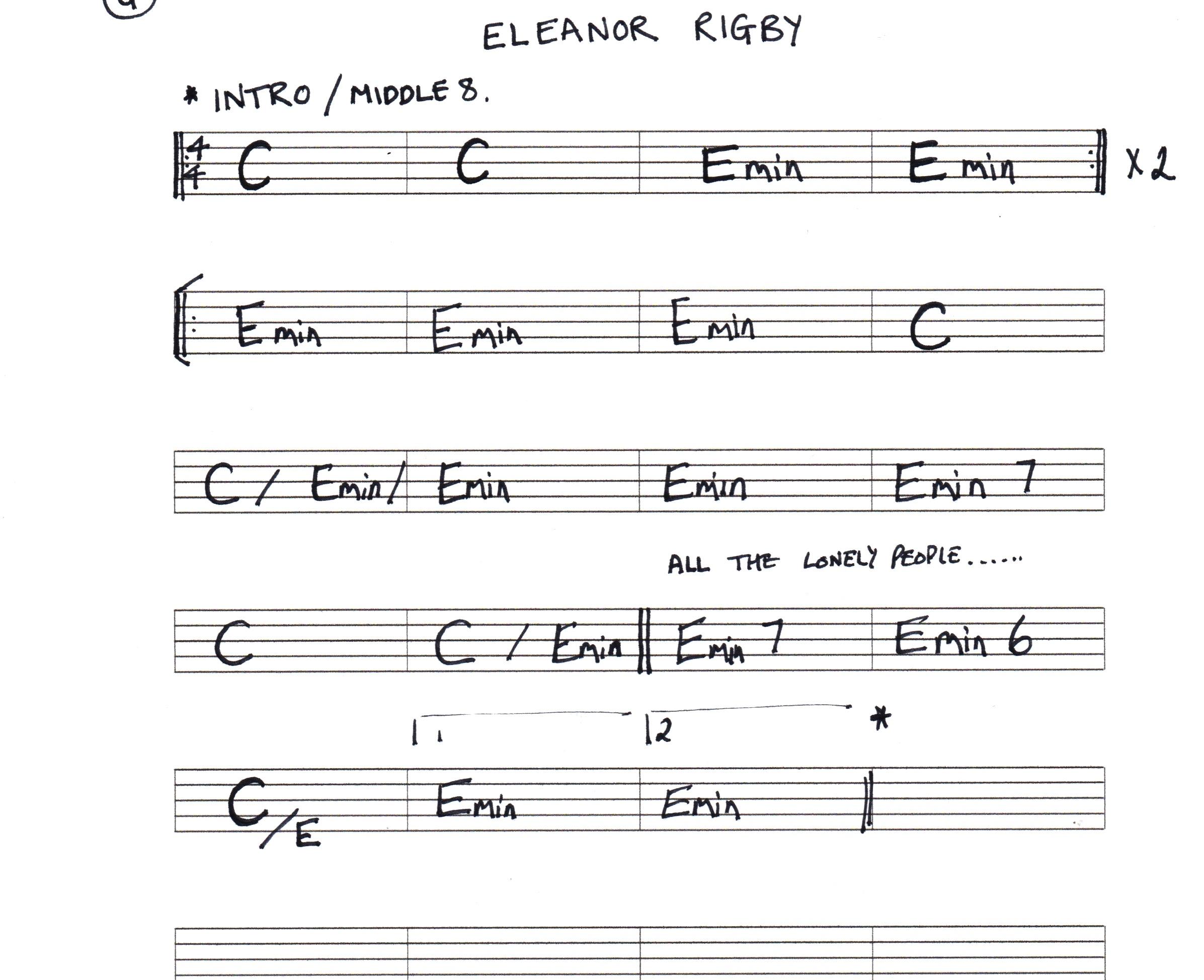 Eleanor Rigby Chord Chart   Key To Music
